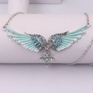 Jewelry - Crystal Angel Wing/Cross Necklace